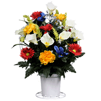 Mixed Flowers Artificial Sympathy Basket