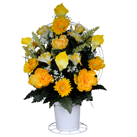 Yellow Peonies Artificial Sympathy Basket