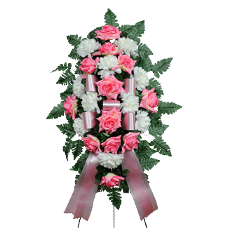 Pink & White Artificial Sympathy Spray