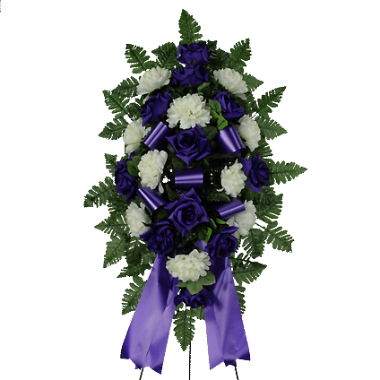 Purple & White Artificial Sympathy Spray