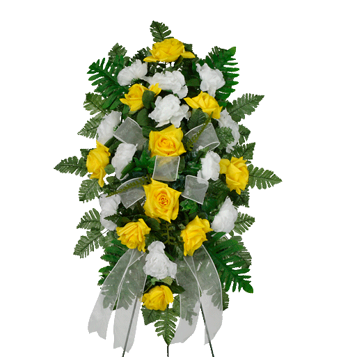 Yellow & White Artificial Sympathy Spray